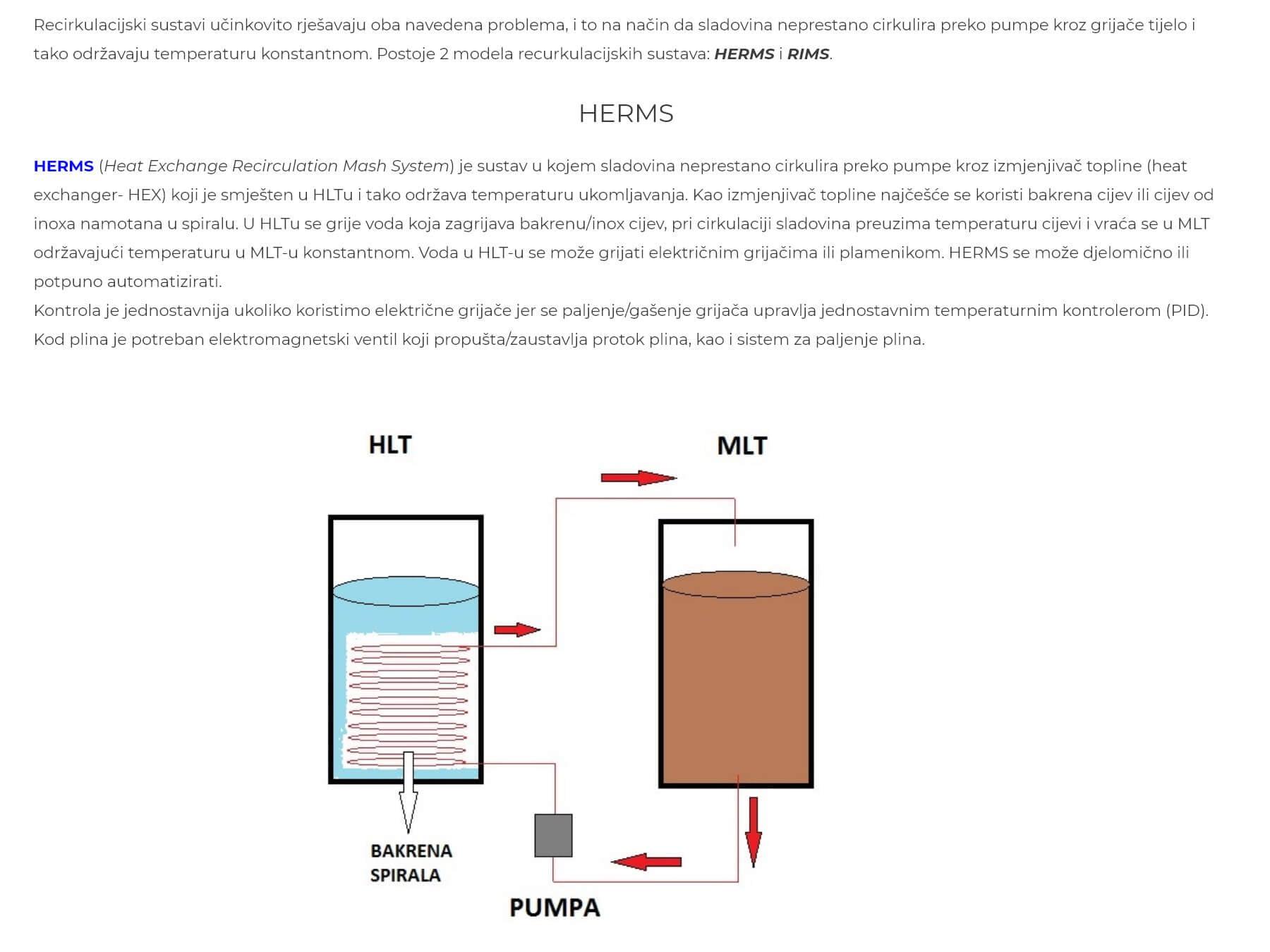 Škola piva opis sustava HERMS